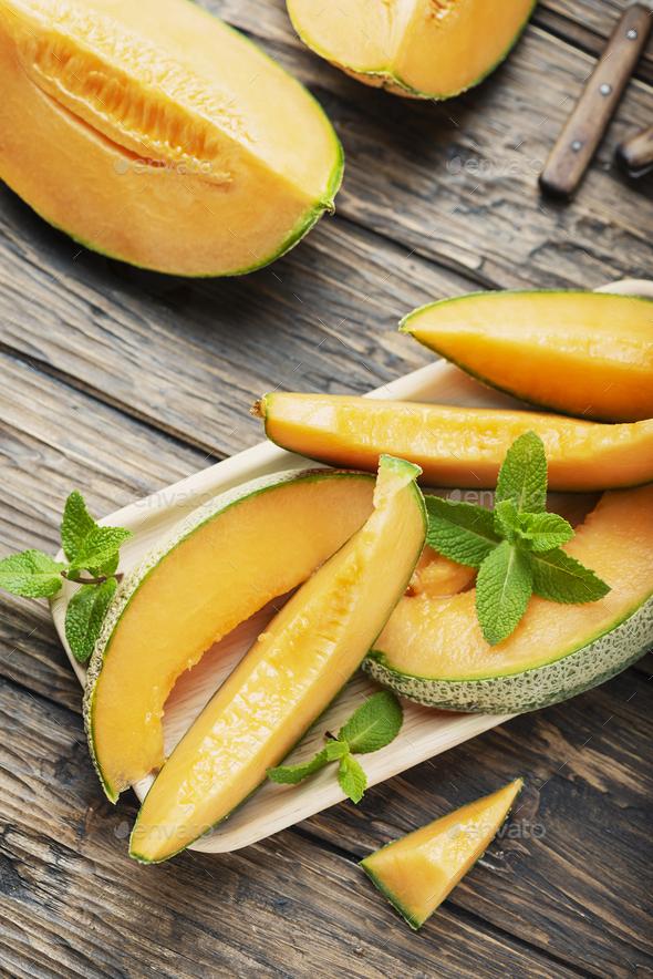 Sweet yellow fresh melon - Stock Photo - Images
