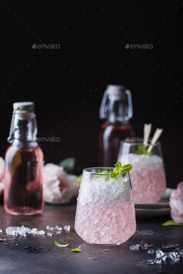 Pink cocktail with mint - Stock Photo - Images
