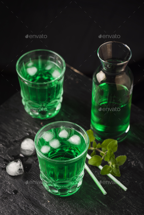 Alcoholic green cocktail - Stock Photo - Images