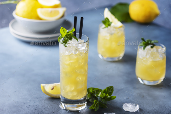 Fresh summer cocktail with lemons - Stock Photo - Images