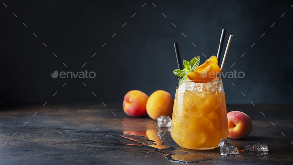 Fresh apricot cocktail with ice and mint - Stock Photo - Images