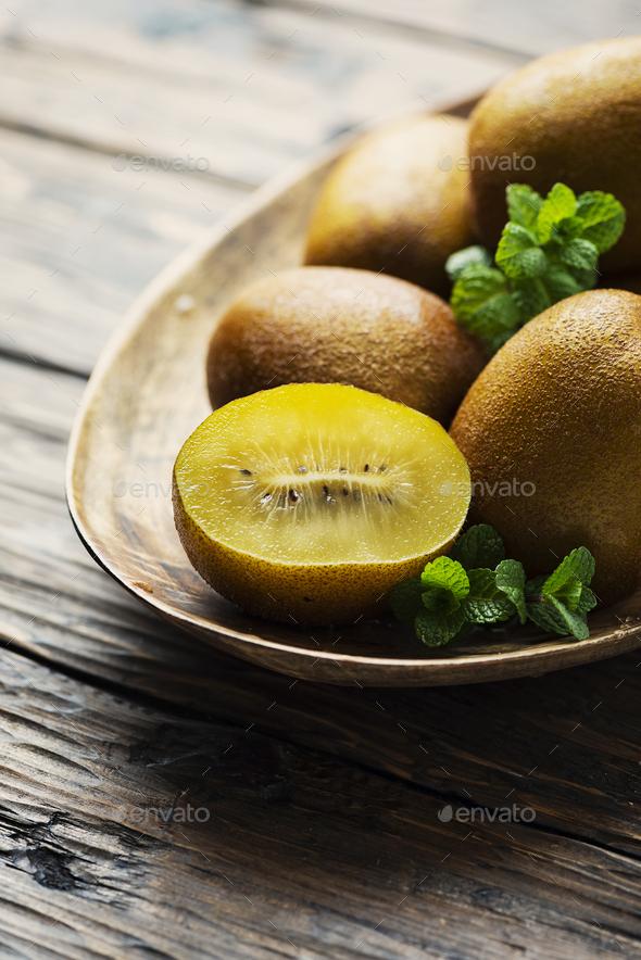 Fresh sweet gold kiwi - Stock Photo - Images
