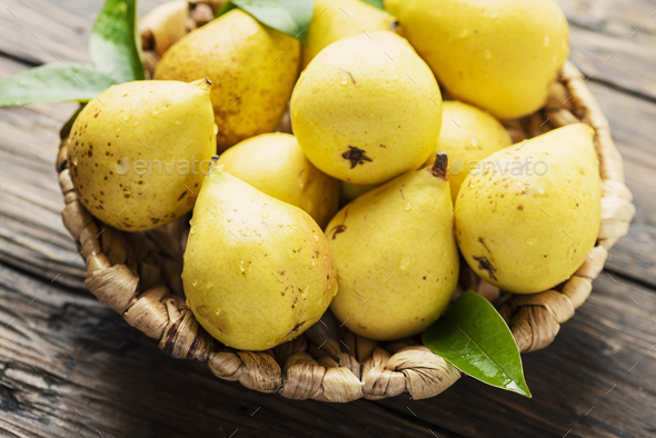 Fresh sweet yelow pears - Stock Photo - Images