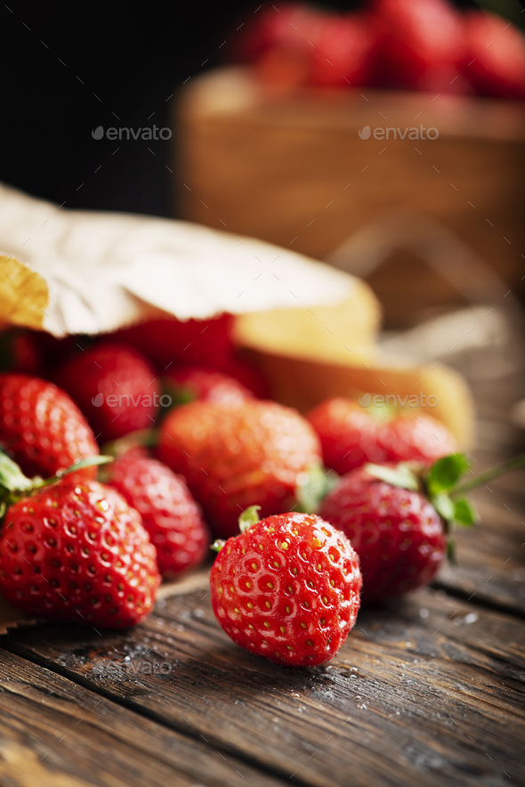 strawberry on the wooden rustic background - Stock Photo - Images