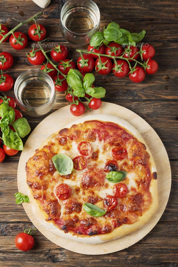 Homemade Italian pizza Margherita - Stock Photo - Images