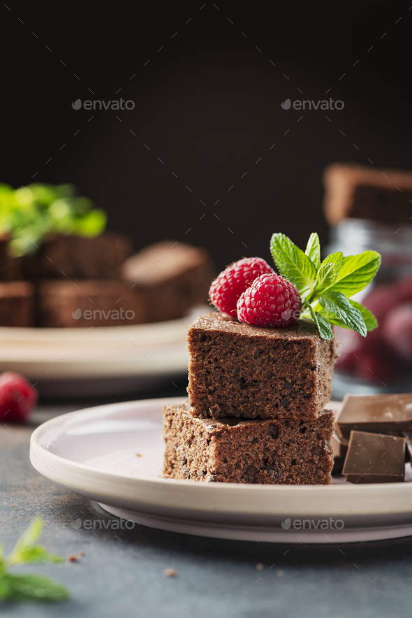 Pieces of a chocolate cake - Stock Photo - Images