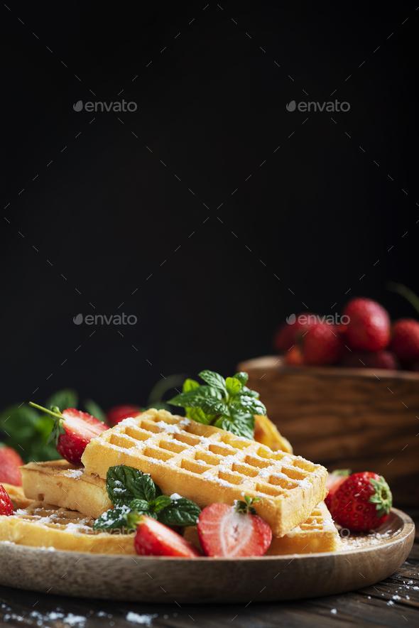 Homemade sweet waffle - Stock Photo - Images