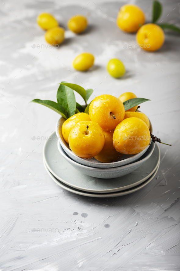 Yellow sweet plums - Stock Photo - Images