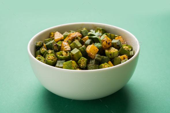 Bhindi / Okra Sabzi Or Ladyfinger Vegetable Recipe - Stock Photo - Images