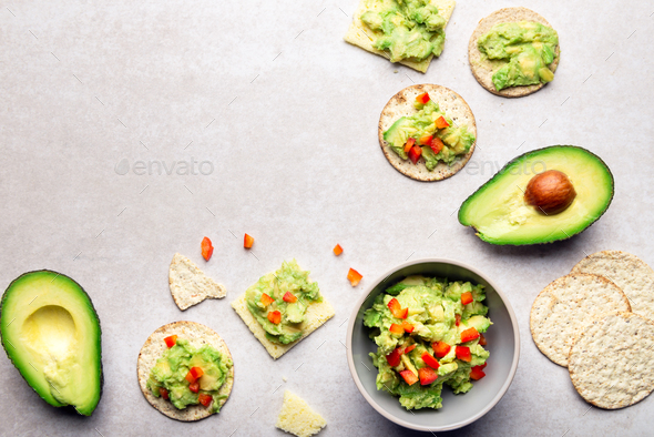 Healthy Gluten Free Snacks with avocado - Stock Photo - Images