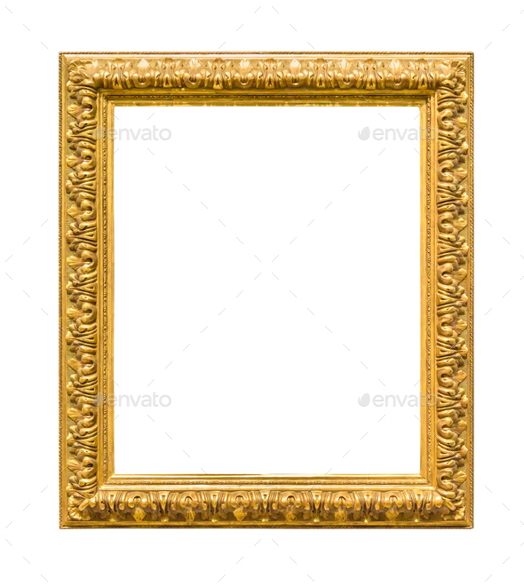 Rectangle decorative golden picture frame - Stock Photo - Images