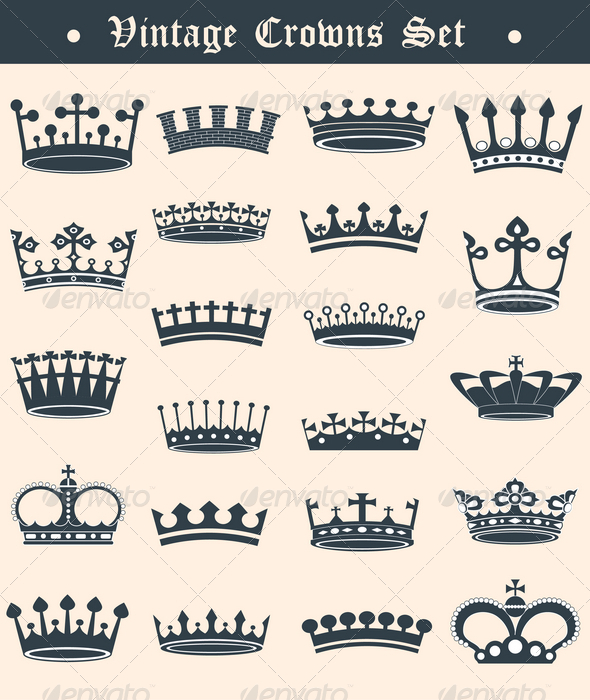 Vintage crowns set - Decorative Symbols Decorative