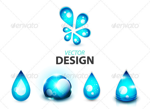 Glossy Water Drop Icons - Nature Conceptual
