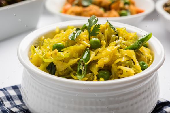 Cauliflower and Cabbage Sabzi - Stock Photo - Images