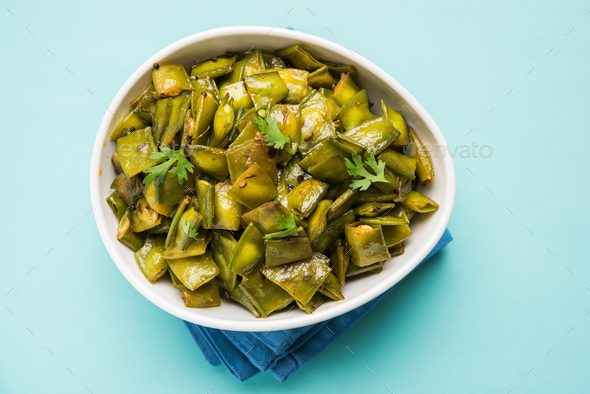 Flat Green Beans Vegetable Dish - Stock Photo - Images