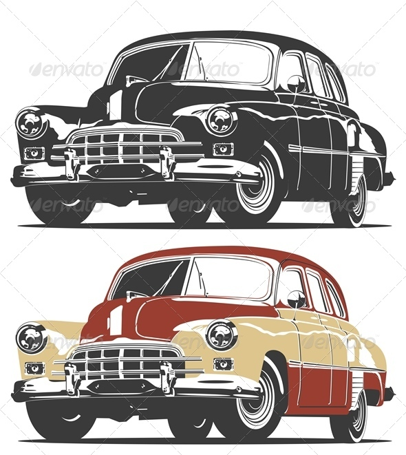 Vector Retro Car - Man-made Objects Objects