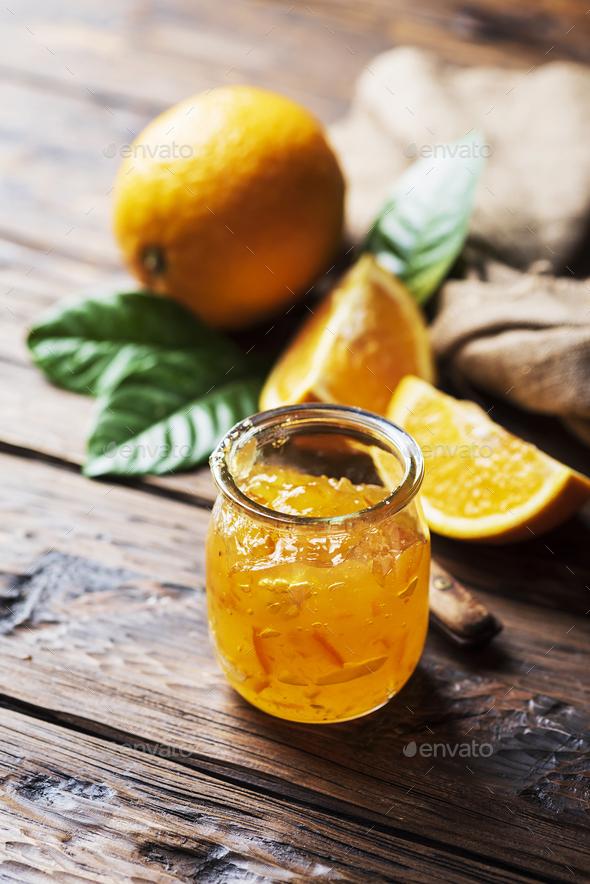 homamade orange jam - Stock Photo - Images