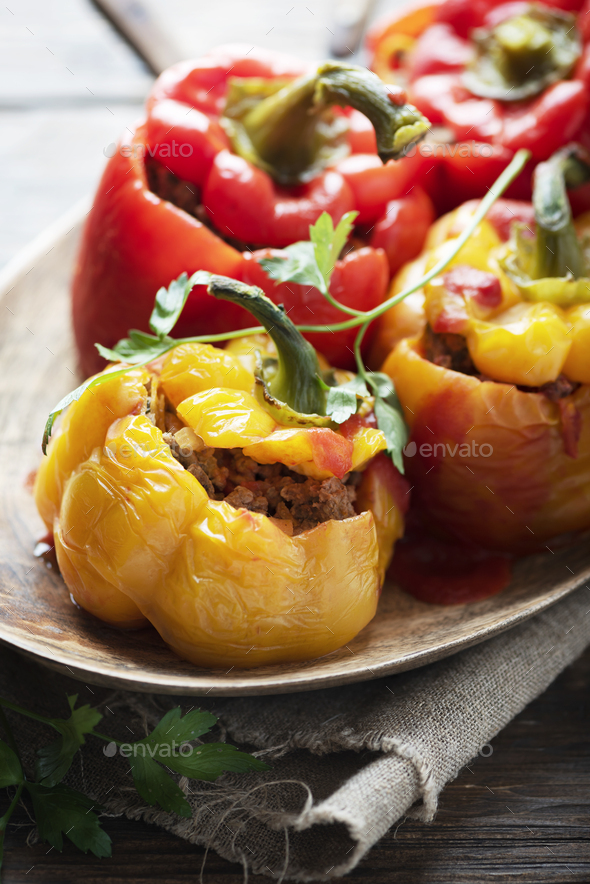 stuffed peppers with meat - Stock Photo - Images