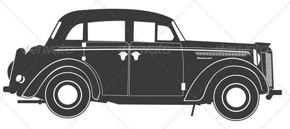 Vector Retro Car Silhouette - Man-made Objects Objects