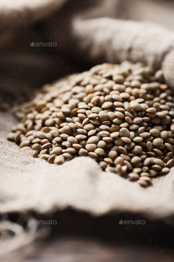 Raw healthy brown lentil - Stock Photo - Images