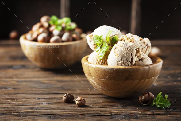 ice cream with hazelnut - Stock Photo - Images