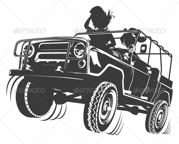 Vector Jeep Silhouette - Man-made Objects Objects
