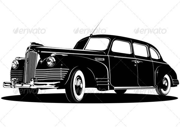 Vector Retro Limousine Silhouette - Man-made Objects Objects