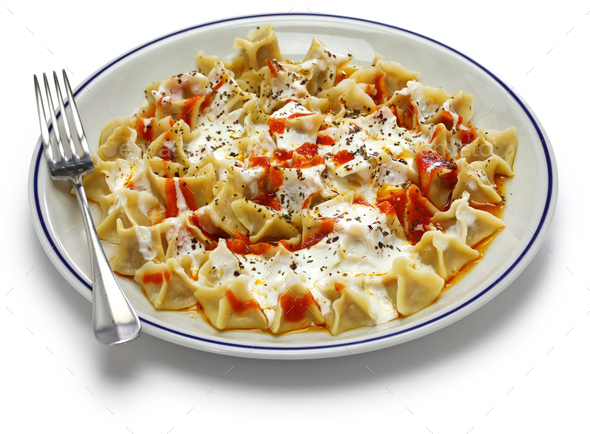 handmade manti ( turkish ravioli type dumplings ) - Stock Photo - Images