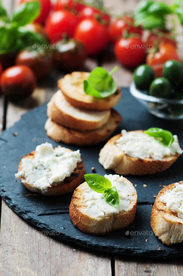 Italian crostini with gorgonzola - Stock Photo - Images