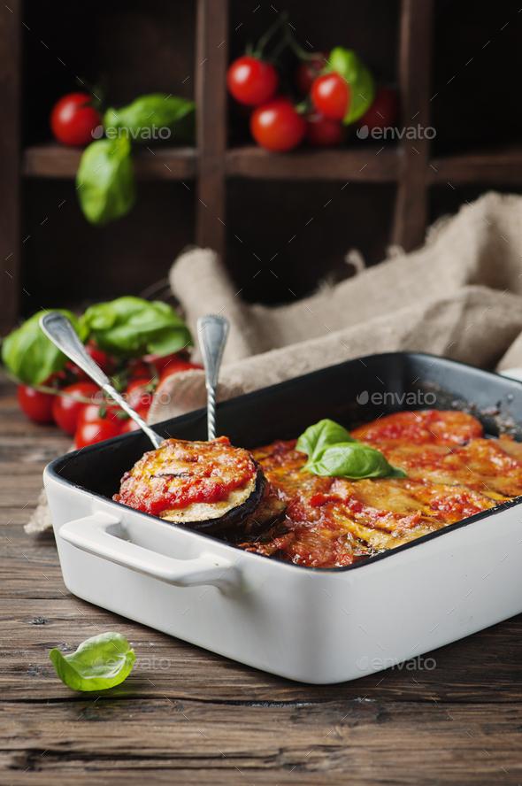 Italian traditional dish parmigiana with eggplant - Stock Photo - Images