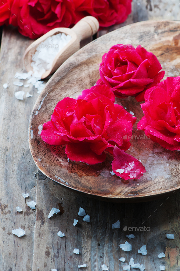 Concept of spa treatment with roses and salt - Stock Photo - Images