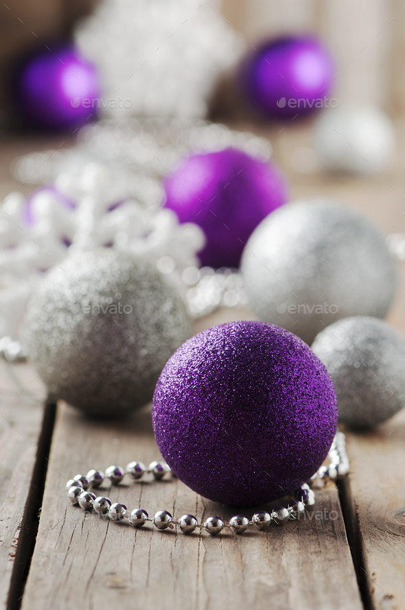 Christmas ornament with balls on the wooden table - Stock Photo - Images