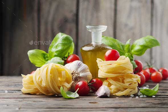 Fresh tomato, basil, olive oil pasta - Stock Photo - Images