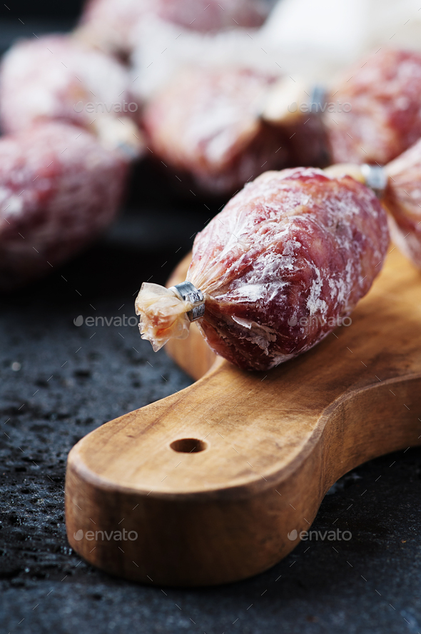 Delicious italian salami on the table - Stock Photo - Images
