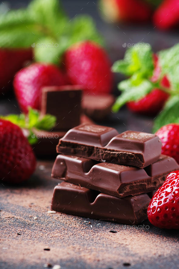 Chocolate with mint and strawberry - Stock Photo - Images
