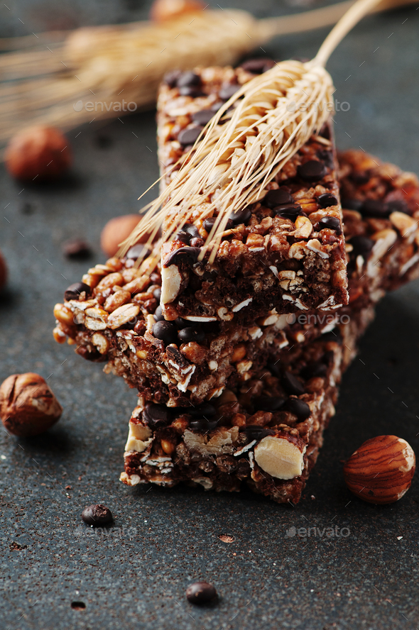 Cereal bar with nuts and chocolate - Stock Photo - Images