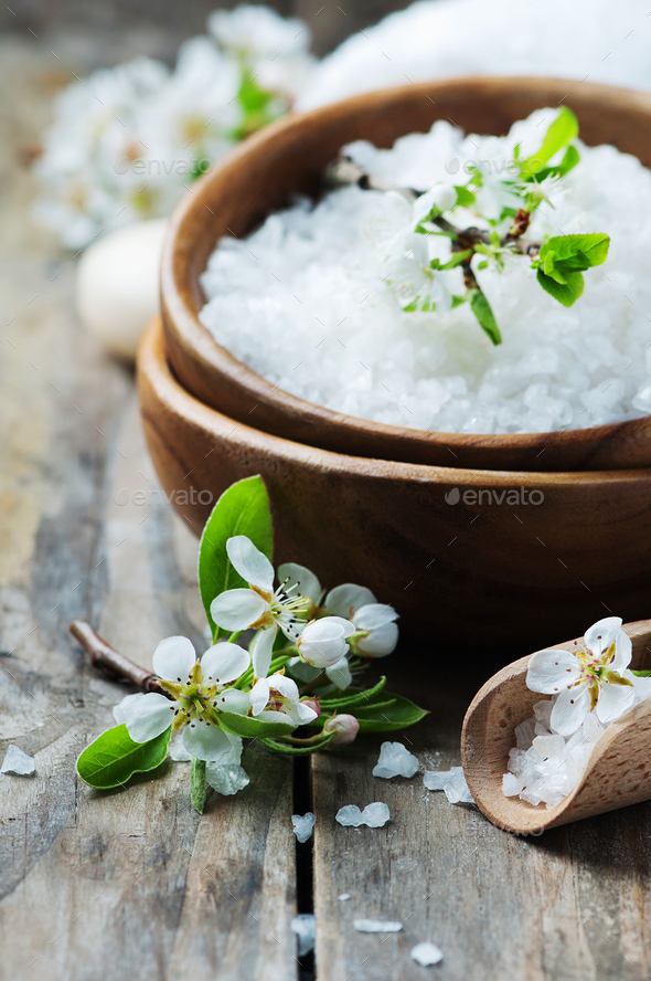 White salt and flowers for spa treatment - Stock Photo - Images