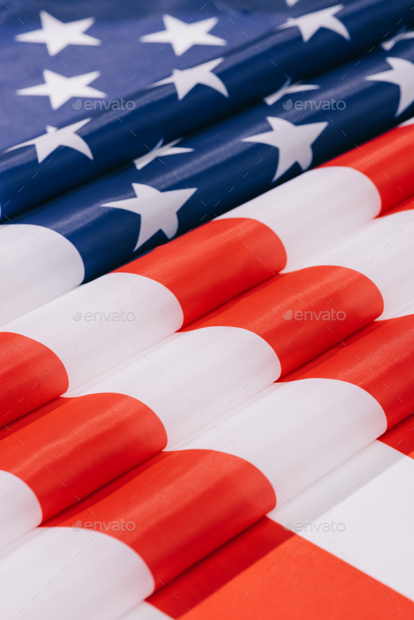 Close up View of Folded American Flag Background - Stock Photo - Images