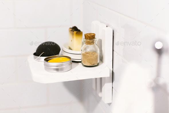 Plastic free bathroom items. Eco natural solid shampoo, konjac sponge, soap - Stock Photo - Images