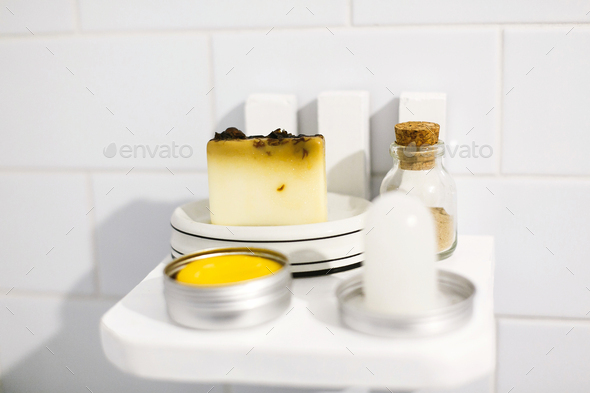 Zero waste bathroom concept. Eco natural shampoo in metal can,  deodorant - Stock Photo - Images