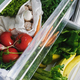 Zero waste grocery in fridge. Fresh vegetables in opened drawer in refrigerator - PhotoDune Item for Sale