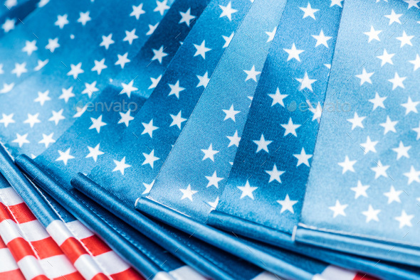 Close up View of Shiny American Flags in Stack - Stock Photo - Images