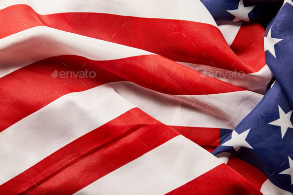 Close up View of Crumpled National American Flag - Stock Photo - Images