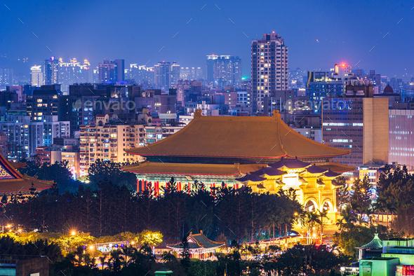 Taipei, Taiwan cityscape towards Liberty Square - Stock Photo - Images