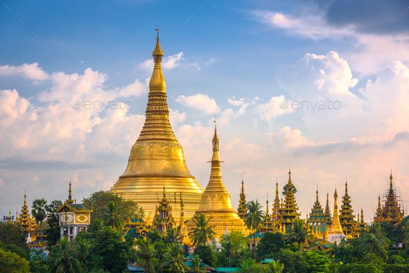 Yangon, Myanmar view of Shwedagon Pagoda - Stock Photo - Images