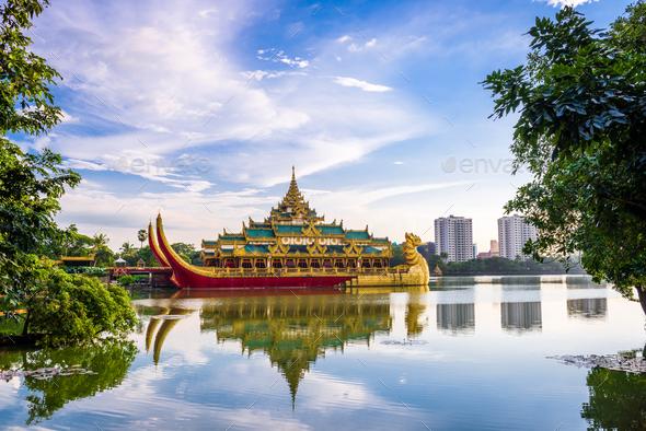 Yangon, Myanmar at Karaweik Palace - Stock Photo - Images