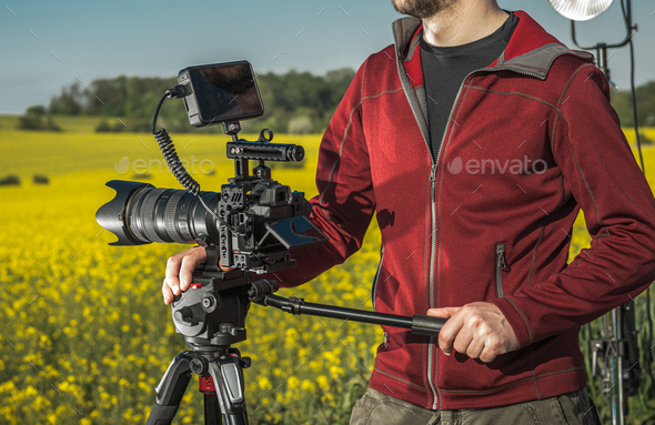Videographer Operator with Professional Digital Camera - Stock Photo - Images