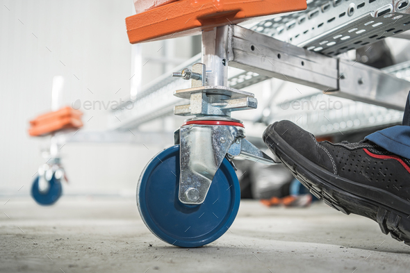Mobile Scaffolding Braking System Close Up - Stock Photo - Images