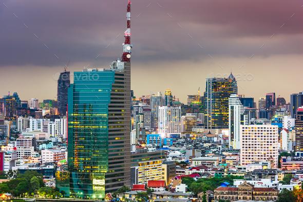 Bangkok, Thailand cityscape at dusk. - Stock Photo - Images