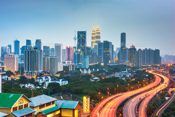 Kuala Lumpur, Malaysia park and skyline - Stock Photo - Images